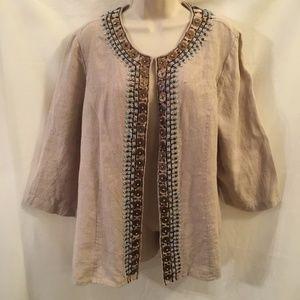 CHICOS Embellished Beaded Linen Jacket Size 3